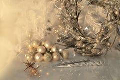 Świąteczny tło z płatkami śniegu Zdjęcie Royalty Free