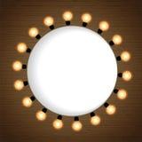 Świąteczny tło z ramą żarówek światła Zdjęcia Stock
