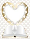 rama w kształcie serce i otwarta książka ilustracji