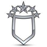 Świąteczny wektorowy emblemat z srebnym konturem i dekoracyjnymi gwiazdami Obraz Stock