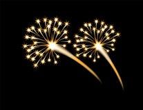 Świąteczny złoty fajerwerku salut, błysk na czarnym tle button ręce s push odizolowana początku ilustracyjna kobieta Obrazy Royalty Free