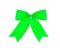 Świąteczny zielony łęk robić faborek odizolowywający na bielu Obraz Royalty Free