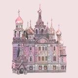 Świątobliwa basil katedra malująca akwarelą ilustracja wektor