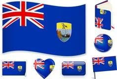 Świątobliwa Helena flaga w siedem kształtach Editable i oddzielne warstwy ilustracji