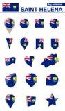 Świątobliwa Helena flagi kolekcja Duży set dla projekta royalty ilustracja