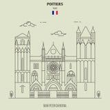 Świątobliwa Peter katedra w Poitiers, Francja Punkt zwrotny ikona royalty ilustracja