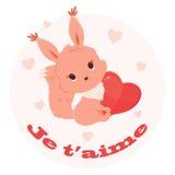 Świątobliwa walentynka dnia ilustracja z wiewiórką trzyma serce Obraz Stock