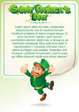 Świątobliwego Patrick dnia przyjęcia tło z Leprechaun Zdjęcia Royalty Free