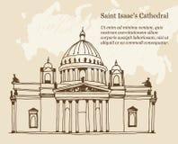 Świątobliwy Isaac Katedralny Sobor w Świątobliwym Petersburg, Rosja ilustracja na beżowym tle ilustracja wektor