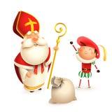 Świątobliwy Nicholas Zwarte Piet z prezent torbą odizolowywającą na białym tle, Sinterklaas lub pomagier royalty ilustracja