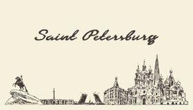 Świątobliwy Petersburg linia horyzontu, Rosja wektorowy miasto rysujący ilustracja wektor