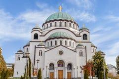 Świątobliwy Sava chrześcijański catedral z błękitnym chmurnym niebem w stolicie Zdjęcie Royalty Free