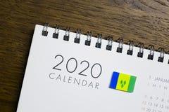Świątobliwy Vincent i grenadyny flaga na 2020 kalendarzu zdjęcie stock