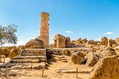 Świątynia Ercole, lokalizować w parku dolina świątynie w Agrigento, Sicily Zdjęcie Stock