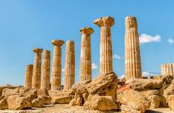 Świątynia Ercole, lokalizować w parku dolina świątynie w Agrigento, Sicily Obrazy Stock