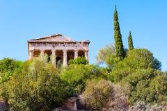 Świątynia Hephaestus w agora terenie wśród akropolu, Grecja Zdjęcia Royalty Free