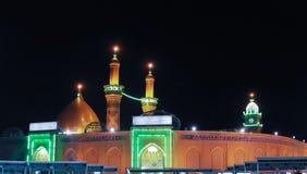 Świątynia imama Hussain ibn Ali przy nocą, Karbala Irak obrazy royalty free