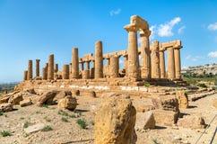Świątynia Juno lokalizował w parku dolina świątynie w Agrigento, Sicily Obraz Stock