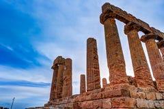 Świątynia Juno - starożytnego grka punkt zwrotny w Valle dei Templi Fotografia Royalty Free