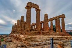 Świątynia Juno - starożytnego grka punkt zwrotny w Valle dei Templi Zdjęcia Royalty Free