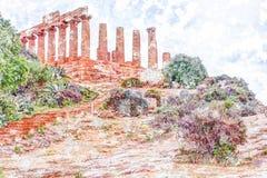 Świątynia Juno - starożytnego grka punkt zwrotny w Valle dei Templi Obrazy Royalty Free