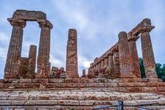 Świątynia Juno - starożytnego grka punkt zwrotny w Valle dei Templi Fotografia Stock