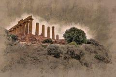 Świątynia Juno - starożytnego grka punkt zwrotny w Valle dei Templi Obraz Stock