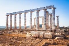 Świątynia Poseidon przy przylądkiem Sounion, Grecja zdjęcia stock