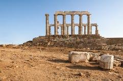 Świątynia Poseidon przy przylądkiem Sounion, Grecja obrazy stock
