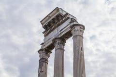 Świątynia Rycynowy i Pollux w Rzym Zdjęcia Royalty Free