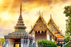 Świątynia Szmaragdowy Buddha w zmierzchu czasie, Bangkok, Tajlandia (Wat Phra Kaew) Obrazy Stock