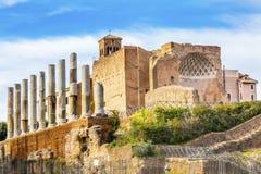 Świątynia Wenus Korynckich kolumn Romański forum Rzym Włochy Zdjęcie Stock