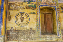 Świątynia z antykwarskim obrazem o prawie karmy od roku 1928 Fotografia Stock