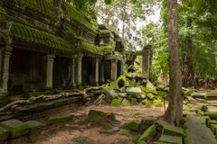 Świątynna kolumnada i spadać skały w lesie fotografia stock