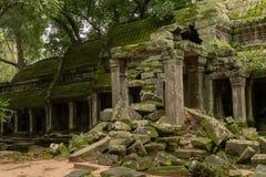 Świątynna kolumnada z wejściem blokującym skałami zdjęcie stock