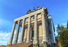 Świątynny Antonius Faustina Vespasian Romański forum Rzym Włochy Obraz Royalty Free