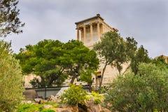 Świątynny Athena Nike Propylaea Antyczny wejście Rujnuje akropol A Fotografia Royalty Free