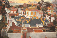 Świątynny maluje Bangkok Thailand ramakien Fotografia Stock