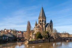 Świątynny Neuf de Metz na Moselle rzece - Lorraine, Francja Fotografia Stock