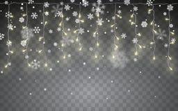Święta śnieżni Spada biali płatek śniegu na ciemnym tle Xmas koloru girlanda, świąteczne dekoracje boże narodzenia target554_0_ ś ilustracja wektor