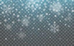 Święta śnieżni Spada płatki śniegu na ciemnym tle Płatek śniegu dekoraci przejrzysty skutek Xmas płatka śnieżny wzór magia ilustracji