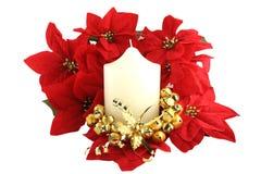 Święta świec kościelne białych pointsettias zdjęcia stock