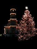 Święta 2 miasta nocy drzewo Fotografia Stock