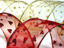 Święta 6 złotego czerwone wstążki zdjęcie stock