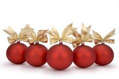 Święta baubles czerwone Zdjęcie Royalty Free