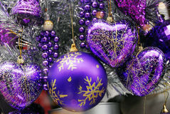 Święta baubles dekoracji niebieski srebra Obraz Stock