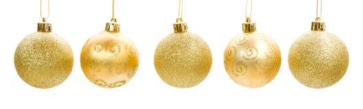Święta baubles złote Fotografia Stock