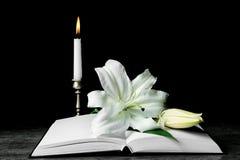 Święta biblia i Wielkanocna biała leluja zdjęcie stock