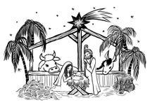święta bożego narodzenia jezusa sceny ilustracyjny wektora Zdjęcia Royalty Free