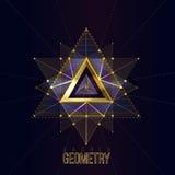 Święta geometria tworzy na astronautycznym tle, kształty złociste linie dla loga Fotografia Stock